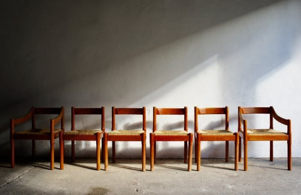 Set of 6 Carimate Dining Chairs by Vico Magistretti, 1970s