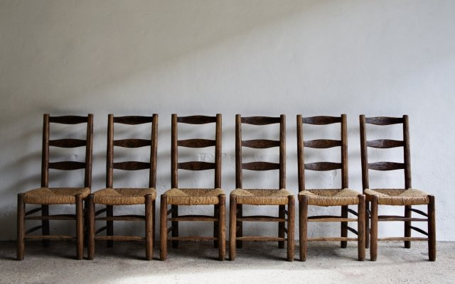Set of 6 Hand Carved Rustic Rush Chairs, 1950s