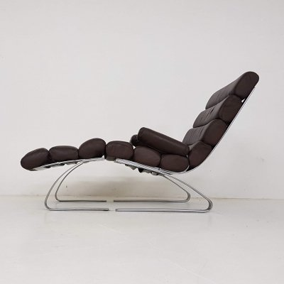 Brown leather 'Sinus' lounge chair by Adolf & Schröpfer for COR, Germany