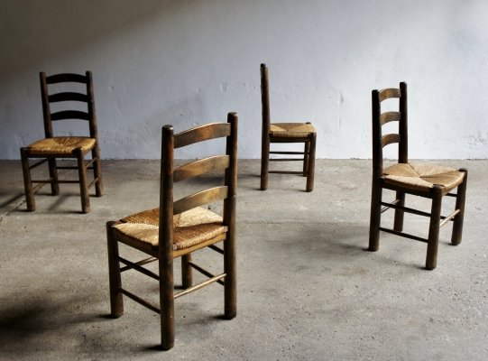 Set of 4 Rustic French Rush Dining Chairs, 1960s