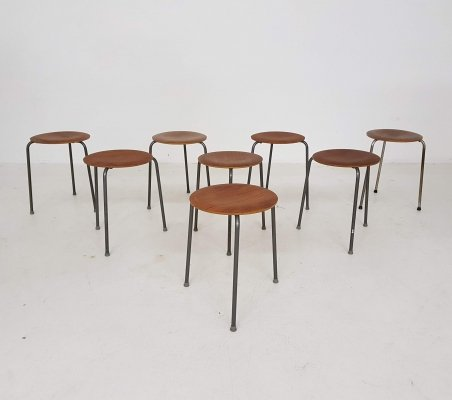 Set of 8 Danish modern teak stools, Denmark 1950's