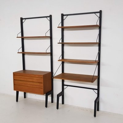 Poul Cadovius for Royal System metal & teak wall unit, Denmark 1960's