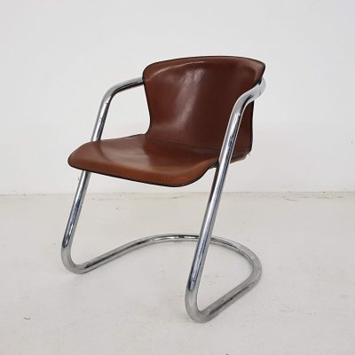 Willy Rizzo for Cidue brown leather & chrome dining chair, Italy
