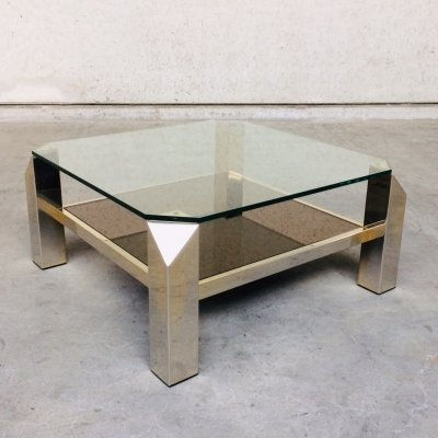 Midcentury Modern Square Brass & Glass Coffee Table by Belgochrom, 1980's