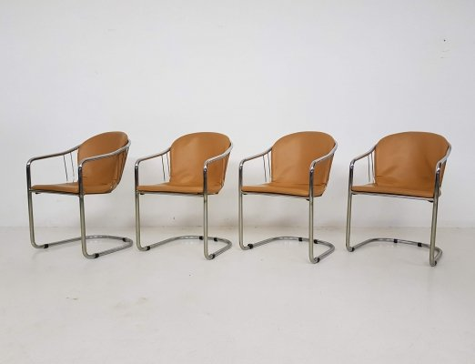 Set of 4 Tubular chrome & cognac leather dining chairs by Gastone Rinaldi for Fasem