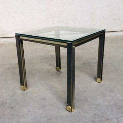 Brushed steel & brass square Coffee Table, Belgium 1980's