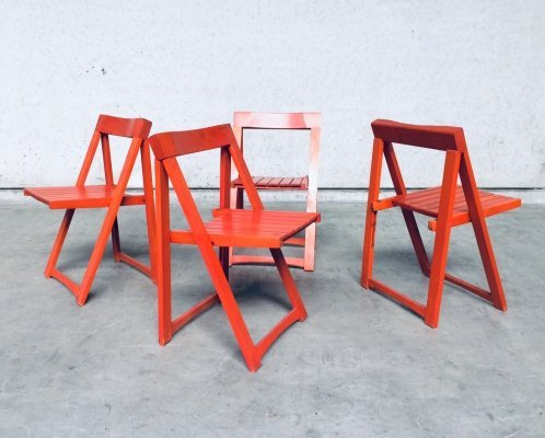 Set of 4 Folding Chairs by Aldo Jacober for Alberto Bazzani, Italy 1960s
