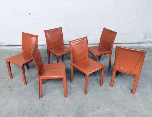 Set of 6 Leather Dining Chairs by Arper, Italy 1970's