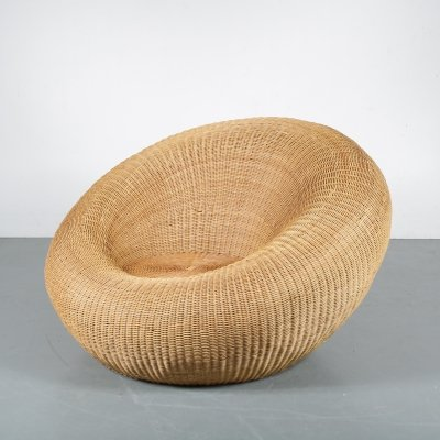 Italian Rattan Lounge Chair, Italy 1960s