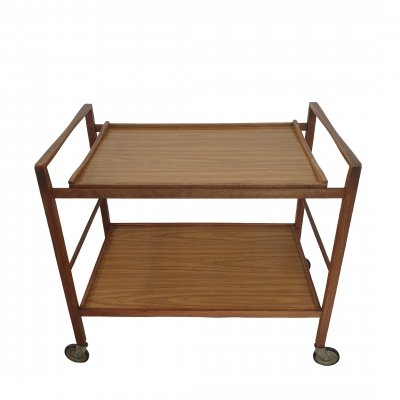 Danish teak wooden serving trolley with a removable formica tray