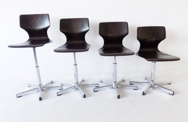 Flötotto set of 4 adjustable swivel Pagwood dining chairs by Adam Stegner