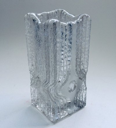 Vintage Ice Glass Vase by Nybro Glasbruk, Sweden 1970's