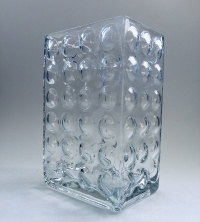 Finnish Design Bubbled square glass Vase, 1970's