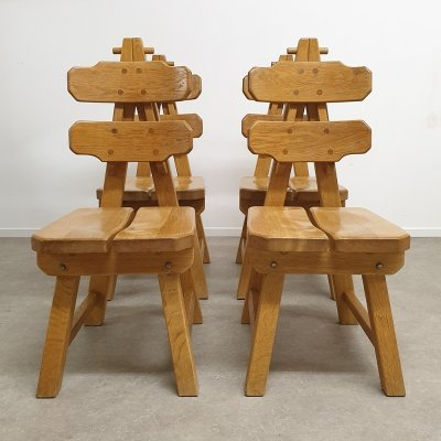 Set of 4 Oak Brutalist Chairs, the Netherlands 1970s