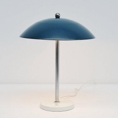 Wim Rietveld blue mushroom table lamp by Gispen, 1950