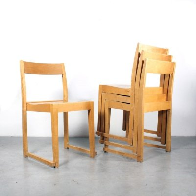 Set of 4 Orkesterstol dining chairs by Sven Markelius for Bodafors, 1960s
