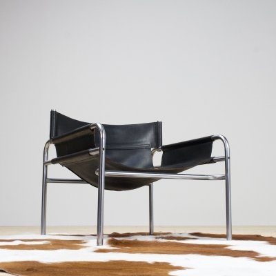 Walter Antonis Black Leather chair SZ14 by Spectrum, 1960s