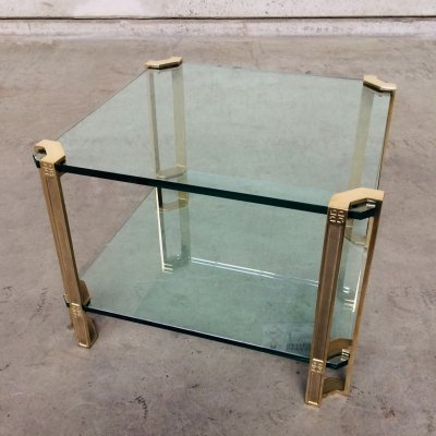 Square Glass & Brass Side Table by Peter Ghyczy, 1970's