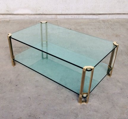 Large Glass & Brass Side Table by Peter Ghyczy, 1970's