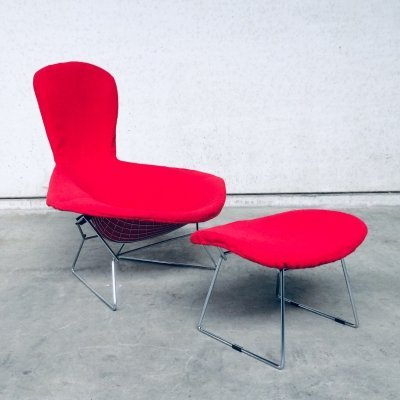 Harry Bertoia Bird Chair & Ottoman by Knoll, 1960's