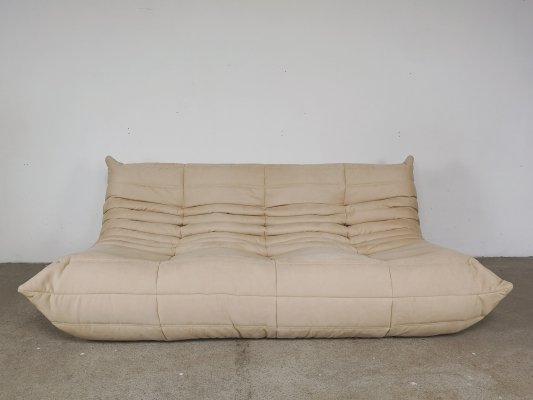Beige Alcantara Togo 3-seater sofa by Michel Ducaroy for Ligne Roset, 1960s