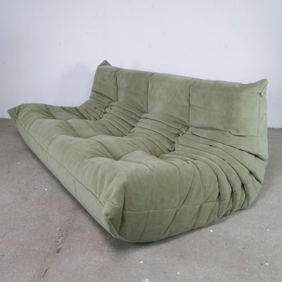 Velvet green Togo 3-seater sofa by Michel Ducaroy for Ligne Roset, 1960s