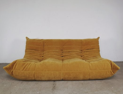 Yellow gold velvet Togo 3-seater sofa by Michel Ducaroy for Ligne Roset, 1960s