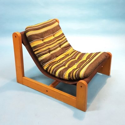 1970s Scandinavian pine & canvas lounge chair