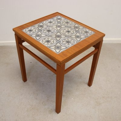 Teak side table with tiles, 1960s