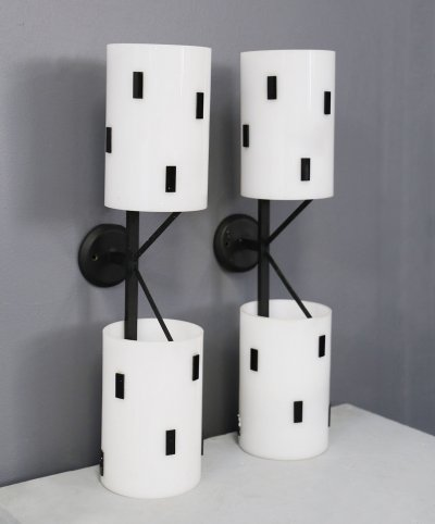 Pair of MidCentury Italian wall sconces in black & white perspex, 1950s