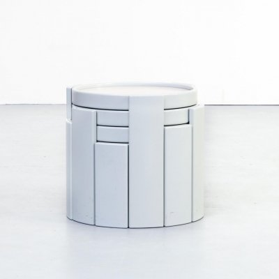 Set of 4 Gianfranco Frattini stackable nesting tables for Cassina, 1970s