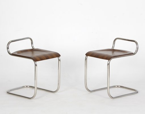 Pair of Tubular steel stools, 1930s