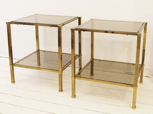 Pair of square brass side tables, 1970s
