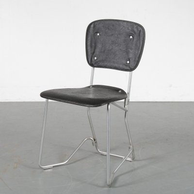 'Aluflex' Chair with black skai designed by Armin Wirth, Switzerland 1950s