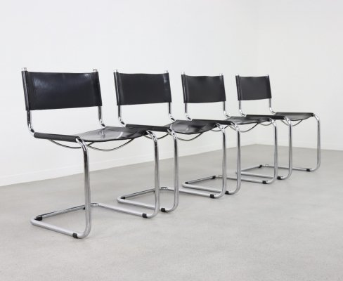 Set of 4 cantilever Bauhaus dining chairs, 1970s