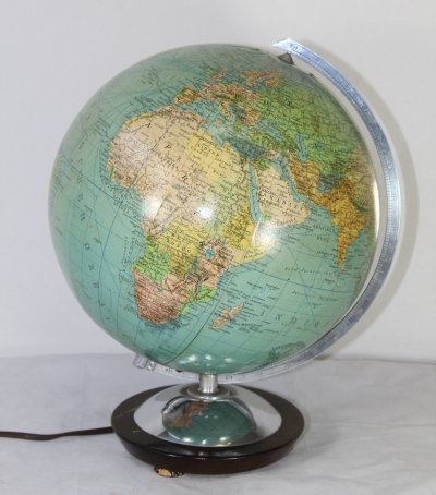 German vintage globe from glass with lighting