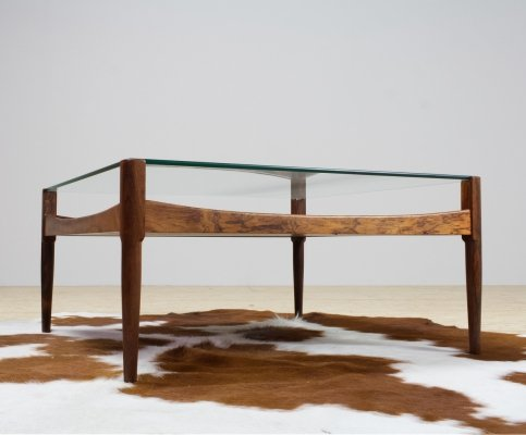 Kristian Vedel coffee table in rosewood & glass, 1960s