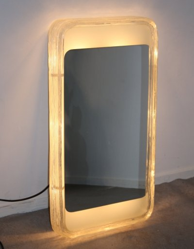 Rectangular illuminated Ice glass Wall mirror by Hillebrand