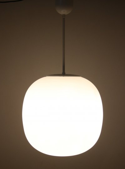 Very Large white glass pendant by Glashütte Limburg, 1960