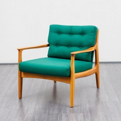 Classic Mid Century Armchair In Bottle Green & Cherrywood, 1960s