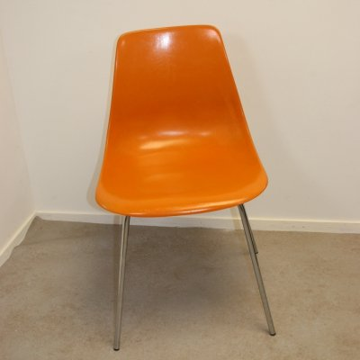 Orange fiberglass chair by Georg Leowald for Wilkhahn, 1960s