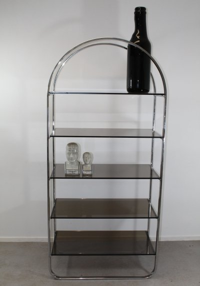 Chrome & glass shelves etagere, 1960s