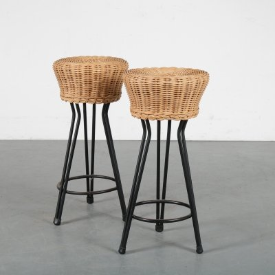 Pair of Wicker tripod stools, the Netherlands 1950s