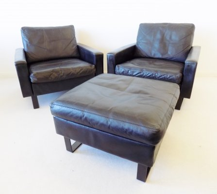 COR Conseta set of 2 black leather lounge chairs with ottoman by Friedrich Wilhelm Möller