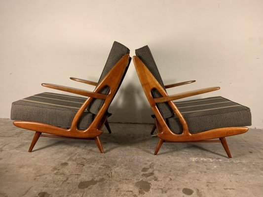 Set of two Dutch Mid-Century Bentwood Lounge chairs by B. Spuij