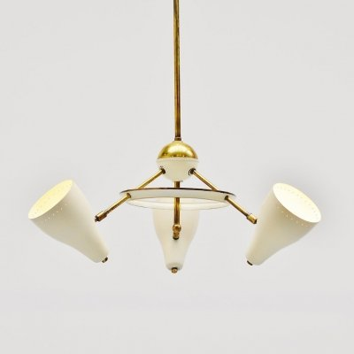 Italian ceiling lamp with white & brass shades, 1950s