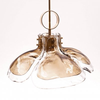 Murano Glass & Brass Pendant by J.T. Kalmar for Franken KG