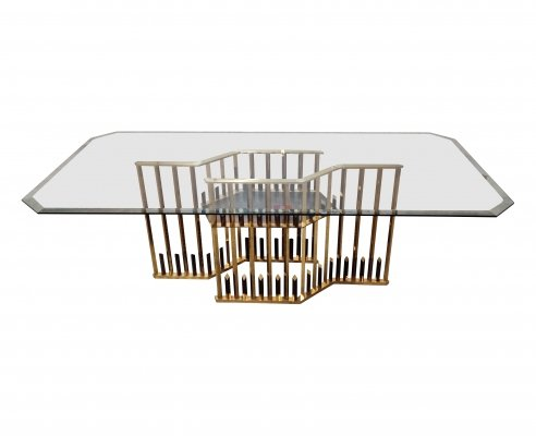 Architectural brass & chrome dining table, 1970s