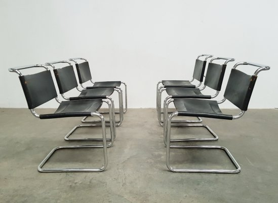 Set of 6 B33 dining chairs by Marcel Breuer for Gavina, 1970s