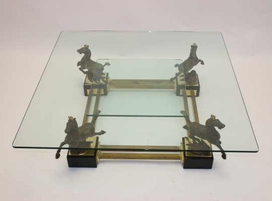 Maison Charles Bronze Coffee table with horses & 2 glass plates